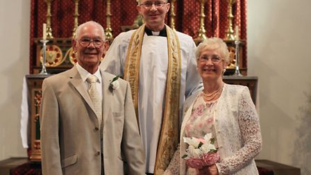 Betty and Phil celebrate their 60th wedding anniversary renewing their vows at St Albans Parish Church.