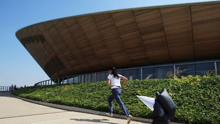 My favourite part of the fitness retreat, the parachute sprint, outside the Velopark