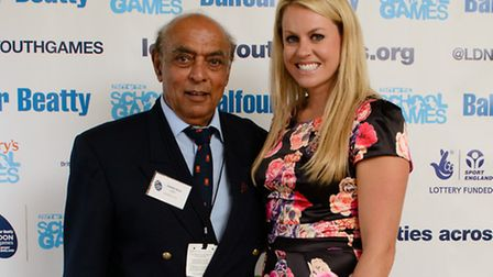"""Chandra """"Channi"""" Arora, 75 (left), with former winter Olympian Chemmy Alcott. Picture: London Youth Games"""