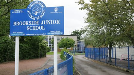 School sign of the former Brookside Junior School