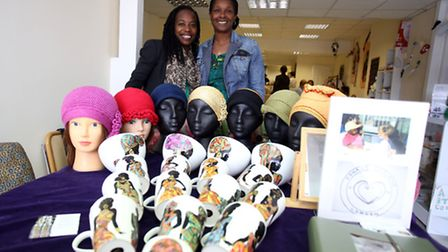 Khadre Deisgns owner and Joli Create owner on their stall with thier products