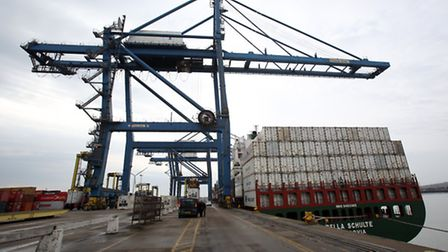 A crane along the quay side at Tilbury Docks in Essex.