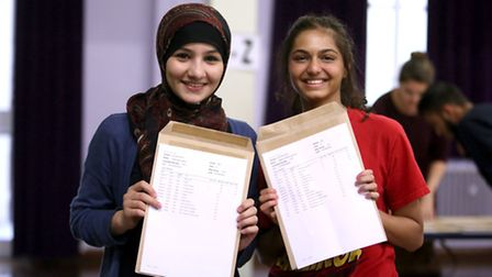 Saakshi Bansal, 18, and Safa Acmosawi, 18, picking up their A-level results at Beal High School