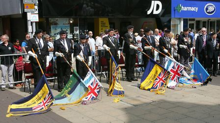 Standard bearers at the service outside Redbridge Town Hall