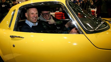 Adrian Newey with Chris Evans in his dad's old Elan (picture: LCCS)