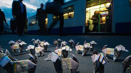 Hundreds of £10 origami 'dogs have been' let loose in London, including West Ham, for people to find. Picture: Mikael Buck