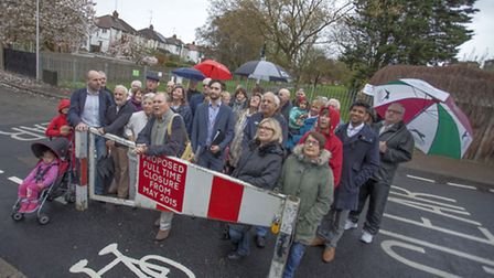 Residents protesting the closure of traffic gates Cavendish Ave in Woodford