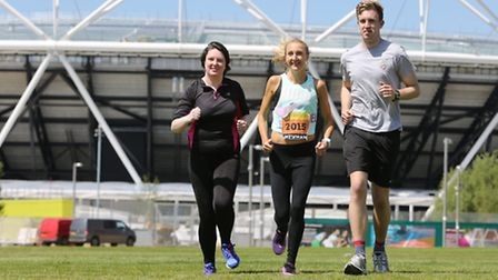 Reporters - and Recorder Runners - Sophie Morton and Mark Shales train at Queen Elizabeth Olympic Park with marathon world...