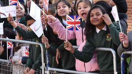 Newham pupils wave their Union Jacks for the Queen