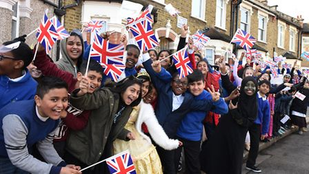 Well-wishers lined the street to welcome the Queen