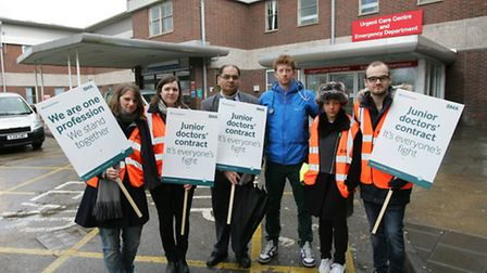 Junior doctors during a previous strike at Newham University Hospital