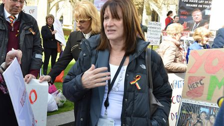 Baroness Lynne Featherstone, pictured speaking to protestors at Parliament, has spoken publicly for the first time about...