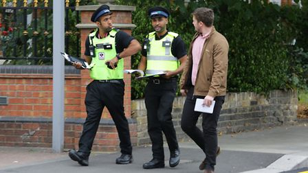 Enforcement officers Awais Shahzada and Ammanuel Asfaw with reporter Matt Clemenson on a patrol in Ilford town centre.