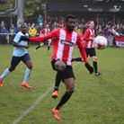 Action from a Clapton match at the Old Spotted Dog in November (pic Tim Edwards)