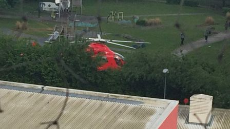 The air ambulance landed nearby. PICTURE: Waheed Productions