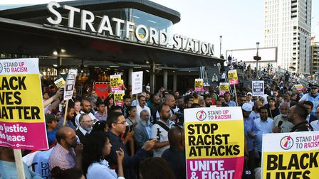 The vigil at Stratford Station for cousins Jameel Muhktar and Resham Khan who were attacked with acid while sitting in...