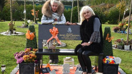 Knife crime victim Ricky Hayden's sister April and mother Suzanne Hedges by Ricky's memorial bench at the Forest Park...