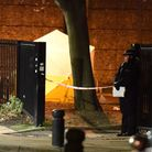 Police at the scene of a stabbing in which a man died on Memorial Avenue in West Ham