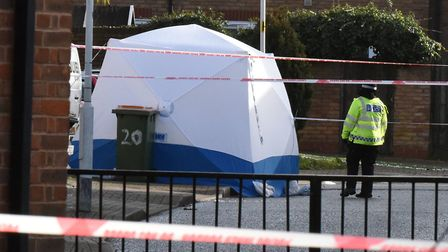 Police at the scene of the stabbing in Goldwing Close