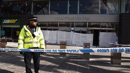 Police at the scene of the murder at Stratford Centre. Picture: Ken Mears