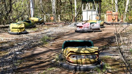Abandoned amusement park in the city center of Prypiat in Chornobyl exclusion zone. Radioactive zone