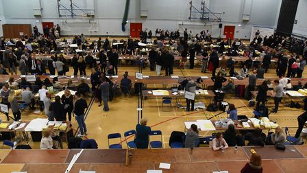 The results being announced at the Havering Council election count at Hornchurch Leisure Centre on Thursday, May 4.