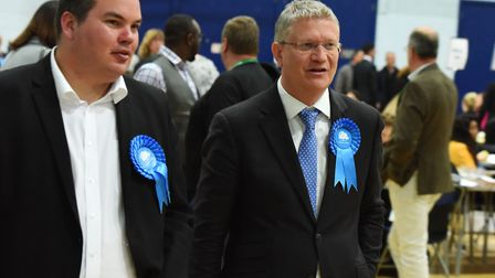 The results being announced at the Havering Council election count at the Hornchurch Leisure Centre. MP Andrew Rosindell...