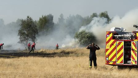 """Firefighters tackle a wildfire in Wanstead Flats on July 15 2018, London's """"biggest ever grass fire"""". It was one of 47..."""