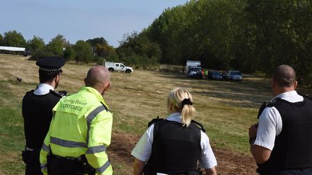 Police evicting travellers from the site in Woodford Green