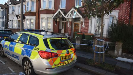 Police at the house in Burges Road, East Ham.