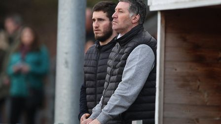 Jimmy McFarlane is seen with his son Ricky attending the game between Hornchurch and Canvey Island in the Bostik North on...