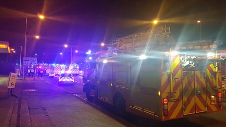 Firefighters, ambulance crews and police are at the scene in Ipswich's London Road Picture: ARCHANT