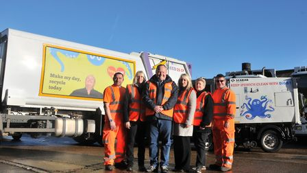 Mark Murphy signed off his fleet of bin lorries as the campaign launched in Ipswich Picture: IPSWICH BOROUGH COUNCIL