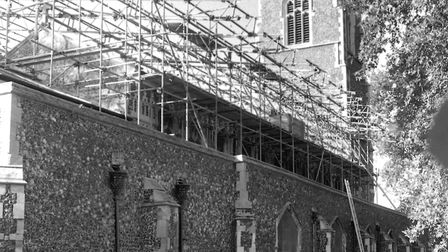 A temporary roof was built over St Clements Church following the fire of September 1995. Picture: OWEN HINES