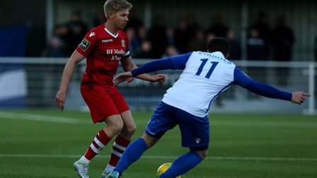 Alex Bentley of Hornchurch and Lewis Taaffe of Enfield Town (pic David Simpson/TGS Photo)