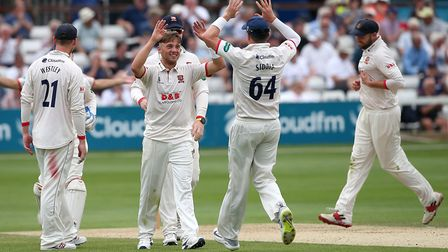 Aaron Beard of Essex celebrates taking the wicket of Steve Davies during Essex CCC vs Somerset CCC, Specsavers County Champio...