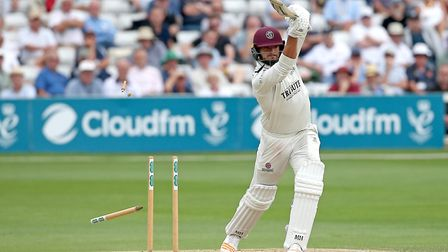Jack Brooks of Somerset is bowled out by Jamie Porter during Essex CCC vs Somerset CCC, Specsavers County Championship Divisi...