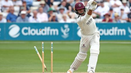 Jack Brooks of Somerset is bowled out by Jamie Porter during Essex CCC vs Somerset CCC, Specsavers County Championship...