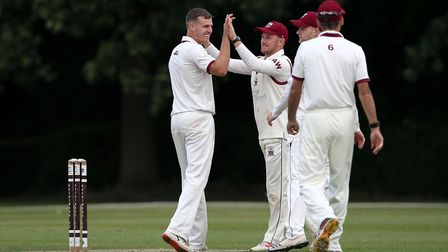 Nick Winter of Brentwood celebrates taking the wicket against Hornchurch at the Old County Ground (pic: Gavin Ellis/TGS...