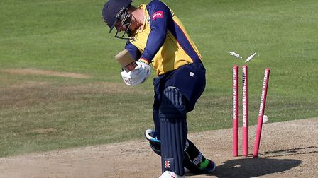 Simon Harmer of Essex is bowled by Kyle Abbott during Hampshire vs Essex Eagles, Vitality Blast T20 Cricket at the Ageas...