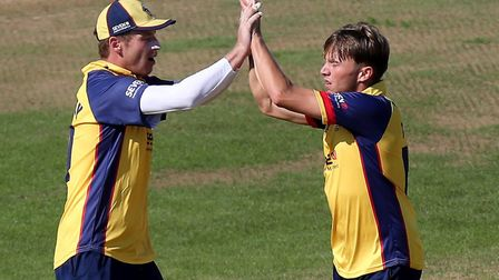 Aaron Beard of Essex celebrates taking the wicket of James Vince during Hampshire vs Essex Eagles, Vitality Blast T20...