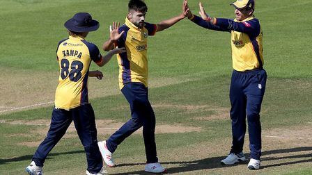 Mohammed Amir of Essex celebrates taking the wicket of Rilee Rossouw during Hampshire vs Essex Eagles, Vitality Blast T20...
