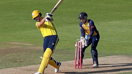 Chris Morris of Hampshire is bowled by Simon Harmer during Hampshire vs Essex Eagles, Vitality Blast T20 Cricket at the...