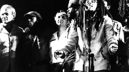 Bob Marley brought together the Jamaican prime minister Michael Manley (far left) and his political