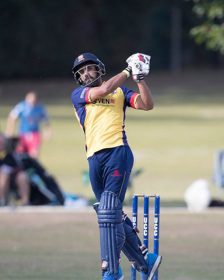 Ravi Bopara of Essex hits a six against Upminster (pic Ray Lawrence/TGS Photo)