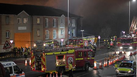 Emergency services at the scene of an explosion at the flats in Hornchurch. Picture: PA Wire/PA Images/Victoria Jones
