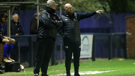 Romford manager Paul Martin (right) with Mark Lord (Pic: Gavin Ellis/TGS Photo)
