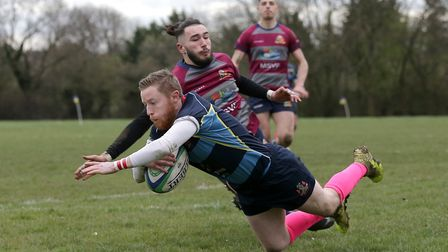 Coopers score their seventh try during Old Cooperians RFC vs Barking RFC. Picture: Gavin Ellis/TGS Photo
