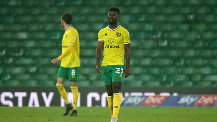 Alexander Tettey of Norwich looks dejected after his side concedes it's 1st goal late on during the
