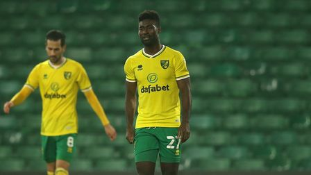 Mario Vrancic of Norwich and Alexander Tettey of Norwich look dejected after their side concedes it'